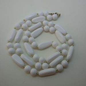 Vintage White Lucite Beaded Necklace